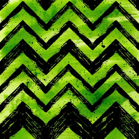stripes seamless: Watercolor green tropical background withblack ink hand drawn ZigZag striped background. Raster geometric summer design.