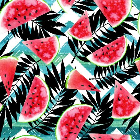 Aquarelle fond tropical avec des tranches de pastèque colorées, des feuilles de palmier sur la texture géométrique rayé. conception Raster d'été.