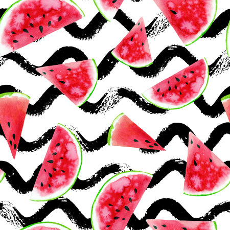 Watercolor seamless pattern with colourful watermelon slices on wave stripe background. Raster summer design background. Stock Photo