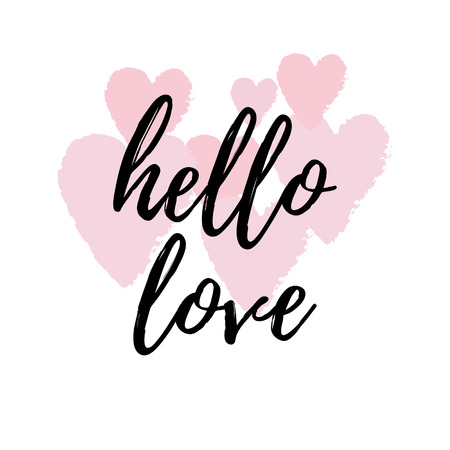 Hello Love Inspirational Quote Greeting Card, Poster, Cover. Vector Hand  Lettering With Pink Home Design Ideas