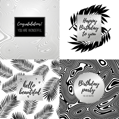 black and silver: Happy Birthday fashion typography posters, greeting cards, invitation set in black, silver and white. Vector summer background with flow striped geometric texture, tropical palm tree leaves, stripes. Illustration