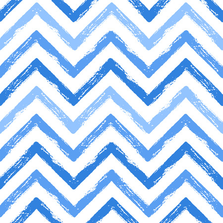 Hand drawn black and white ink abstract ZigZag striped seamless pattern. Vector grunge texture. Monochrome paint brush smears on white background.