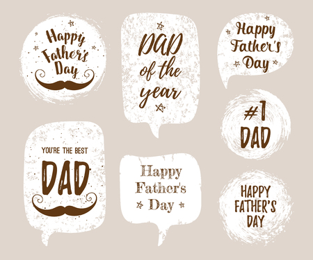 best dad: Happy Fathers Day, Youre the Best DAD, DAD of the year, #1 DAD greeting cards, fashion posters set. Vector quote with speech bubble background. Fathers day typography poster with mustache, stars.