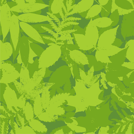Colourful green summer and  spring leaves bunch seamless pattern. Vector grunge design elements for cards, wallpapers, backgrounds and natural product.