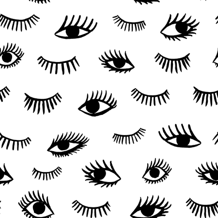 close eyes: Hand drawn eye doodles seamless pattern in retro style. Vector beauty illustration of open and close eyes for cards, textiles, wallpapers, backgrounds.