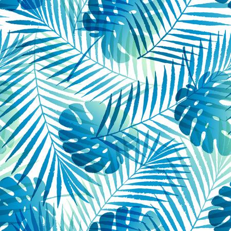 Zomergradiënt tropische palmboom bladeren naadloos patroon. Vector grunge ontwerp voor kaarten, wallpapers, achtergronden en natuurlijk product.