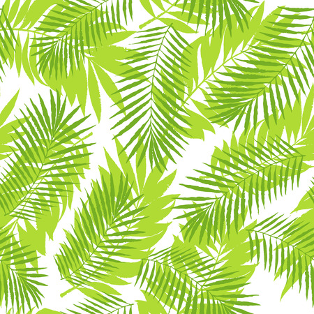 Summer tropical palm tree leaves seamless pattern. Vector grunge design for cards, wallpapers, backgrounds and natural product. Illustration