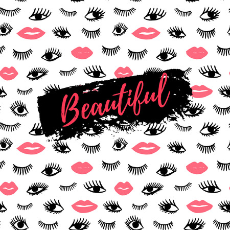 close eyes: Beautiful greeting card, fashion poster. Hand drawn eye, pink lips doodles seamless pattern in retro style. Vector beauty illustration of open and close eyes for cards, textiles, backgrounds.