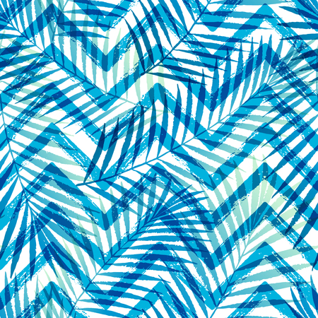 Summer gradient tropical palm tree leaves with ZigZag seamless pattern.