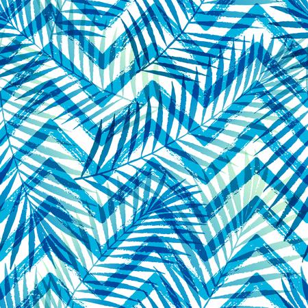 Summer gradiënt tropische palmbladeren met ZigZag naadloos patroon. Stock Illustratie
