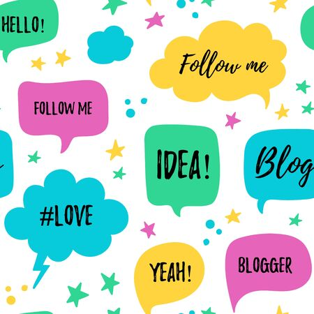 patter: speech bubbles seamless patter with phrases Blog Illustration
