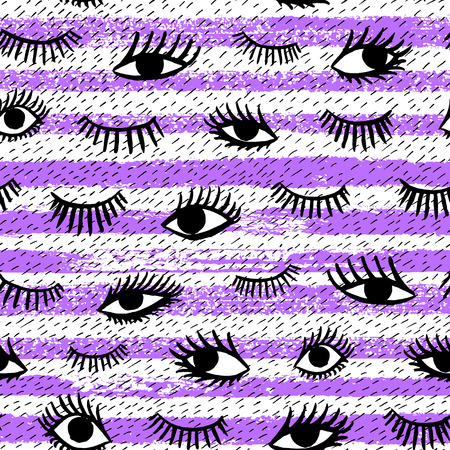 close eyes: Hand drawn eye, pink lips doodles seamless pattern in retro style. Vector beauty illustration of open and close eyes for cards, textiles, wallpapers, backgrounds.