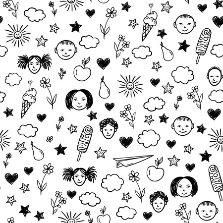 baby playing toy: Seamless pattern with children, flowers, sun, stars