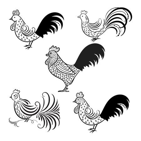 simbol: Gallo - simbolo del 2017 sul calendario cinese. Vector cazzo silhouette illustrazione su sfondo bianco sul nuovo anno 2017.