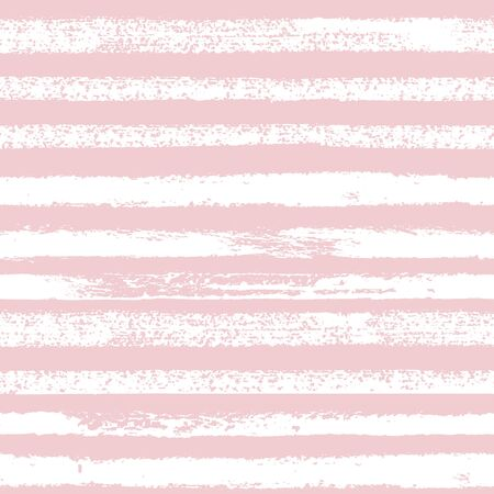 watercolor paper: Hand drawn pink and white ink abstract stripe seamless pattern. Vector grunge texture. Monochrome paint brush smears on white background.
