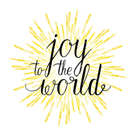 Joy to the world greeting card, poster with hand drawn rays. Vector background with hand lettering.