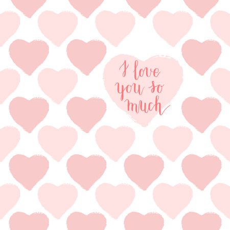 spring bed: I love you so much  hand lettering greeting card, poster with seamless pattern with cute pink hearts. Vector background.