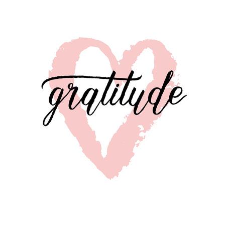 Cartel de agradecimiento con corazón de cepillo de pintura rosa dibujado a mano. Fondo de vector con letras de mano.