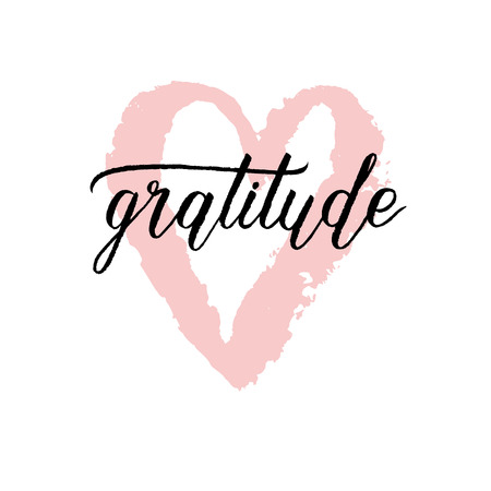 Gratitude poster with pink hand drawn paint brush heart. Vector background with hand lettering.