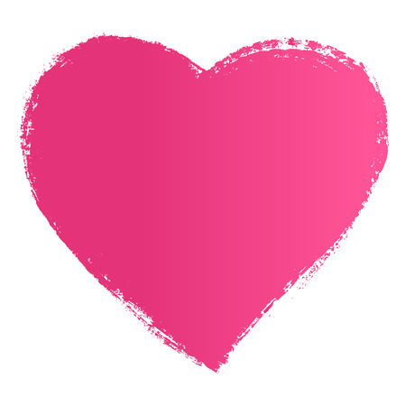 Vector hand drawn ink pink heart.
