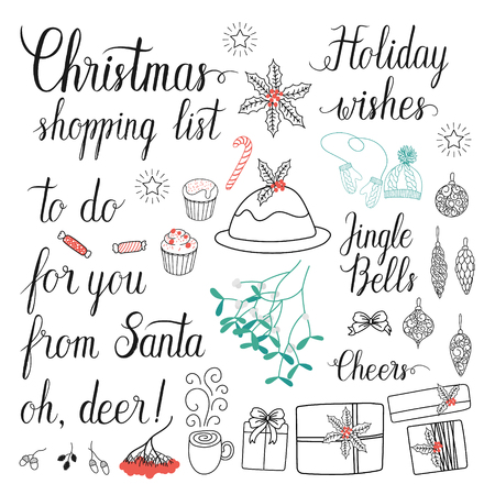 holiday shopping: Christmas shopping list, Cheers, to do, for you, from Santa, Holiday wishes, oh, deer, Jingle Bells hand lettering set for greeting cards. Vector hand drawn collection.