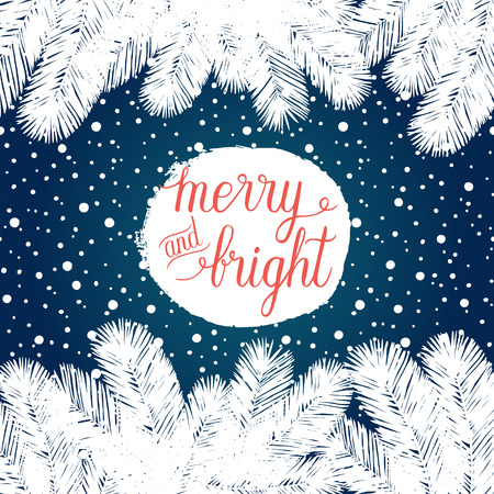 winter tree: Merry and Bright Christmas greeting card. Vector winter holidays background with hand lettering, christmas tree branches, snowflakes, falling snow. Illustration