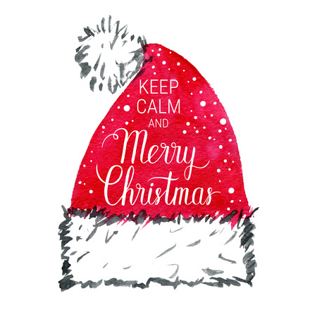 xmax: Keep calm and Merry Christmas poster. Vector winter holidays background with hand lettering, snowflakes, falling snow. Hand drawn watercolor red santa hat.