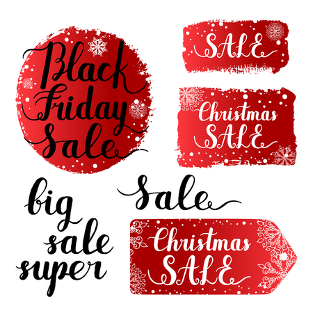 splash page: Christmas sale, Black Friday banner, label, round shape, tag ink hand lettering quote background with snowflakes. Vector paint brush stroke isolated on white background. Hand drawn grunge elements. Illustration