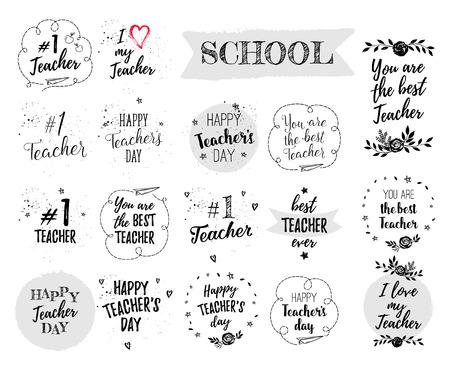 幸せな先生の日ラベル、グリーティング カード、ポスター セット。ベクトルの引用の先生が大好き、あなたはハート、星、花、飛行機で白い背景に