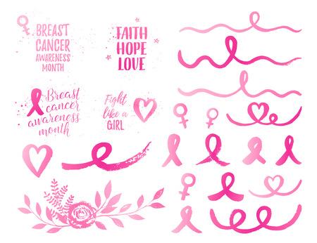 乳房のがん啓発月間リボン、信仰の希望愛女の子バナー、要素セットのような戦い。ベクター ピンク リボン、弓、花束、ハート、波と白い背景のグ