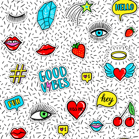 vibes: Vector seamless pattern with fashion fun patches: eyes, lip, star, strawberry, cherry, crystal, Good vibes speech bubble on confetti background. Pop art stickers, patches, pins, badges 80s-90s style