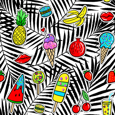 kiss biscuits: Vector hand drawn seamless pattern with fashion patches: ice cream, macaroons, cocktail, pineapple, pomegranate, strawberry, cherry, lip, banana on palm leaves. Pop art stickers, patches, pins, badges