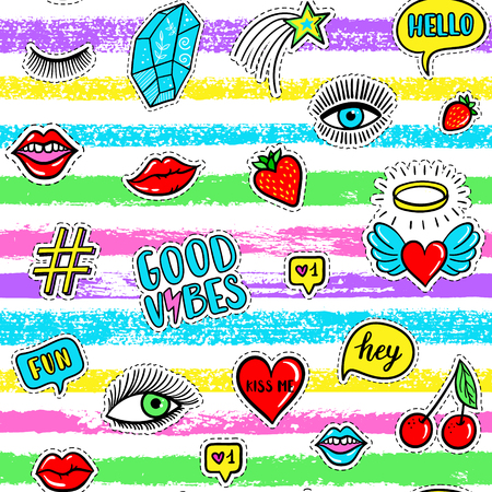 Vector seamless pattern with fashion fun patches: eyes, lip, star, strawberry, cherry, crystal, Good vibes speech bubble on stripe background. Pop art stickers, patches, pins, badges 80s-90s style