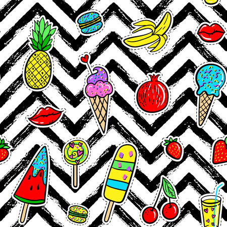 macaron: Vector hand drawn seamless pattern with fashion patches: ice cream, macaroons, cocktail, pineapple, pomegranate, strawberry, cherry, lip, banana on palm leaves. Pop art stickers, patches, pins, badges
