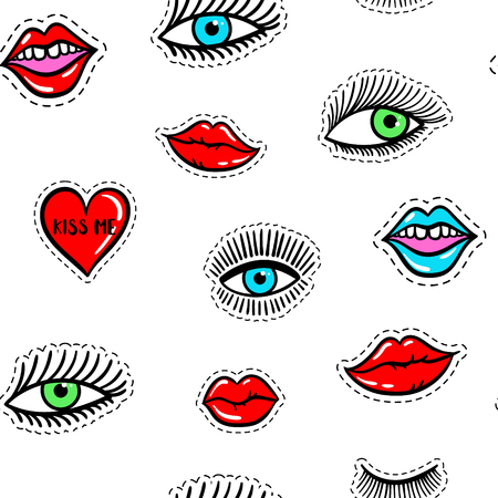 close eyes: Hand drawn fashion patches eyes, red lip, heart seamless pattern. Vector beauty illustration of open and close eyes for card, clothes, background. Pop art sticker, patche, pin, badge 80s-90s style