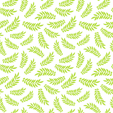 Hand drawn green branches abstract seamless pattern. Vegan, nature, organic, healthy food, eco, recycle, environment, health background with leaves. Illustration