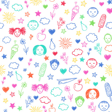 baby playing toy: Seamless pattern with happy school children, flowers, sun, stars. Vector colorful background. Doodle drawing. Illustration