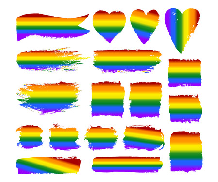 Vector gay pride design elements: flag, rainbow, star, heart, ribbon, smear. LGBT, gay and lesbian pride symbols, icons. Hand drawn paint strokes isolated on white background. LGBT concept. Illustration