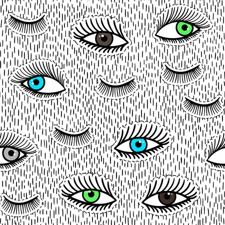 close eyes: Hand drawn fashion patches eyes, eyelash seamless pattern. Vector beauty illustration of open and close eyes for clothes, background. Pop art sticker, patche, pin, badge 80s-90s style. Doodle sketch