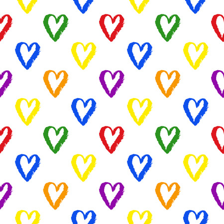 trans gender: Vector grunge hand drawn colorful abstract seamless pattern with hearts. LGBT, gay and lesbian pride rainbow texture. Vector symbol of gay pride design element.