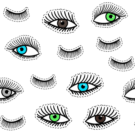 Hand drawn fashion patches eyes, eyelash seamless pattern. Vector beauty illustration of open and close eyes for clothes, background. Pop art sticker, patche, pin, badge 80s-90s style. Doodle sketch