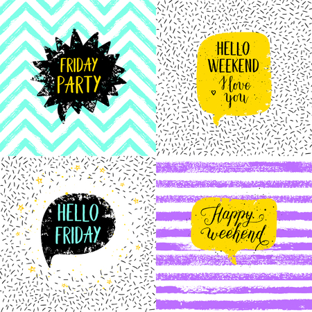 Hello Friday, Happy weekend, Happy Friday, Today is going to be awesome greeting cards, posters, prints set. Vector hand lettering quote on stripe, confetti background. Ilustração