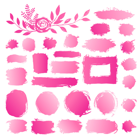Hand drawn abstract make up, cosmetic stains, paint brush strokes. Vector set collection of pink gradient acrylic smears paint isolated on white background.