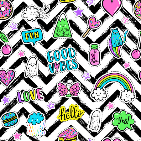 Vector hand drawn fashion pink color patches: rainbow, doughnut, mountain, cat, ghost, cloud, macaron, cake, lollipop, heart seamless pattern. Modern pop art sticker, patches pin, badge 80s-90s style