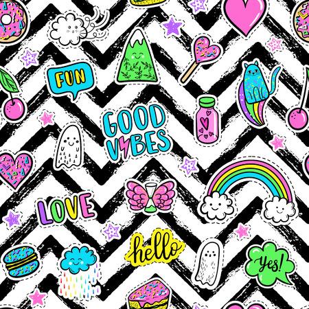 Vector main mode dessinée rose taches de couleur: arc en ciel, beigne, montagne, chat, fantôme, nuage, macaron, gâteau, sucette, coeur seamless pattern. Moderne autocollant pop art, patchs pin, le style badges 80s-90s Banque d'images - 67966116