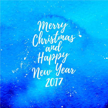 Merry Christmas and Happy New Year 2017 greeting card, poster. Vector winter holidays background with hand lettering, falling snow, hand drawn watercolor blue stain. Illustration