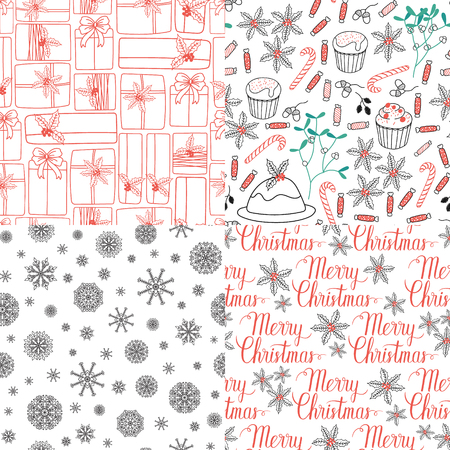 xmax: Winter Holiday seamless patterns set with Merry Christmas hand lettering and gifts, snowflakes, mistletoe, cakes, pie. Vector background for Christmas design.