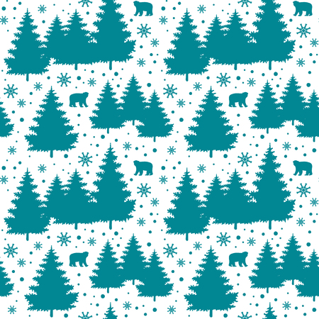 xmax: Winter Holiday seamless pattern with christmas trees, bears, snowflakes. Vector falling snow background for christmas card. Illustration