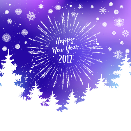 Happy New Year 2017 greeting card. Vector winter holiday shine blurred background with starburst, hand lettering calligraphic, snowflakes, trees, falling snow. Illustration