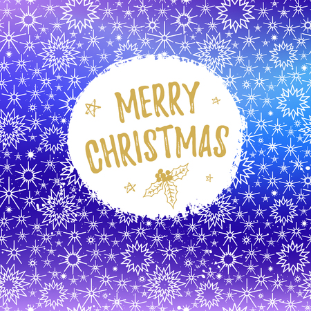 Merry Christmas greeting card. Vector winter holiday shine blurred background with hand lettering calligraphic, stars, falling snow.
